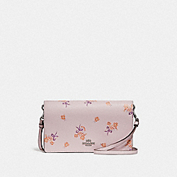 HAYDEN FOLDOVER CROSSBODY CLUTCH WITH FLORAL BOW PRINT - ICE PINK FLORAL BOW/SILVER - COACH F31587