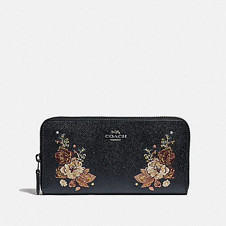 COACH ACCORDION ZIP WALLET WITH TATTOO EMBROIDERY - BLACK MULTI/BLACK ANTIQUE NICKEL - F31603