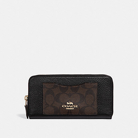 COACH ACCORDION ZIP WALLET IN SIGNATURE CANVAS COLORBLOCK - BROWN/BLACK/LIGHT GOLD - F31612