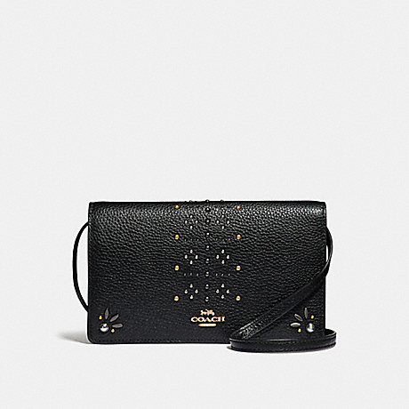 COACH FOLDOVER CROSSBODY CLUTCH IN SIGNATURE CANVAS WITH RIVETS - BROWN BLACK/MULTI/LIGHT GOLD - F31616