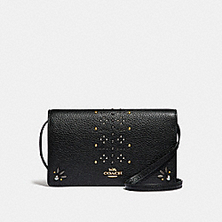 FOLDOVER CROSSBODY CLUTCH IN SIGNATURE CANVAS WITH RIVETS - BROWN BLACK/MULTI/LIGHT GOLD - COACH F31616
