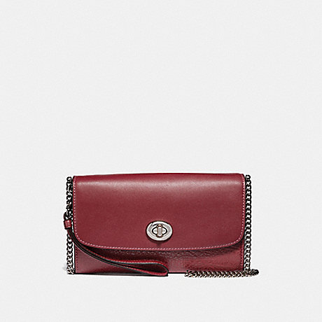 COACH CHAIN CROSSBODY - CHERRY/SILVER - F31620