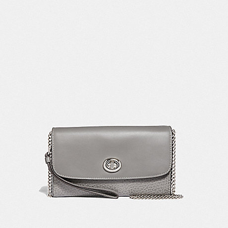 COACH CHAIN CROSSBODY - HEATHER GREY/SILVER - F31620