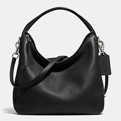 COACH BLEECKER SULLIVAN HOBO IN PEBBLE LEATHER -  SILVER/BLACK - f31623