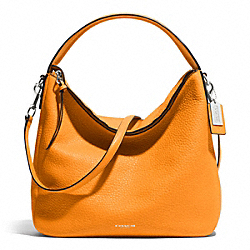 COACH BLEECKER PEBBLED LEATHER SULLIVAN HOBO - SILVER/BRIGHT MANDARIN - F31623