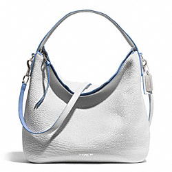 COACH BLEECKER EDGEPAINT LEATHER SULLIVAN HOBO - SILVER/WHITE/BLUE OXFORD - F31624
