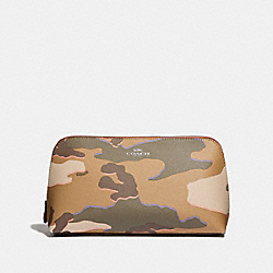 COSMETIC CASE 22 WITH WILD CAMO PRINT - KHAKI MULTI /SILVER - COACH F31626