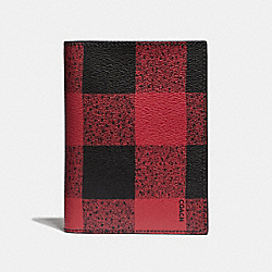 COACH PASSPORT CASE WITH BUFFALO CHECK PRINT - RED MULTI/BLACK ANTIQUE NICKEL - F31658