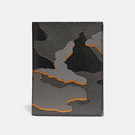 COACH PASSPORT CASE WITH CAMO PRINT - GREY MULTI/BLACK ANTIQUE NICKEL - F31659
