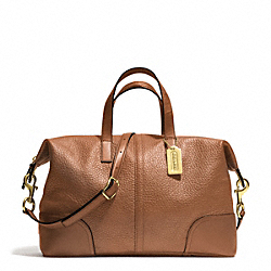 COACH HADLEY LUXE GRAIN LEATHER ZIP SATCHEL - BRASS/SADDLE - F31663