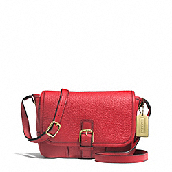 COACH HADLEY LUXE GRAIN LEATHER FIELD BAG - BRASS/BRIGHT RED - F31664