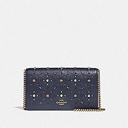 CALLIE FOLDOVER CHAIN CLUTCH WITH PRAIRIE RIVETS - MIDNIGHT NAVY/BRASS - COACH F31731