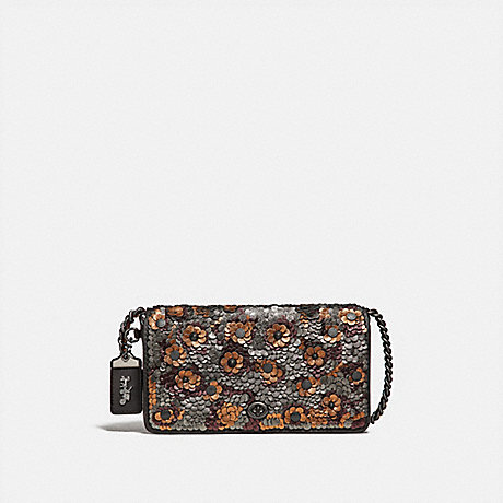 COACH DINKY WITH LEATHER SEQUIN - BLACK MULTI/BLACK COPPER - F31732