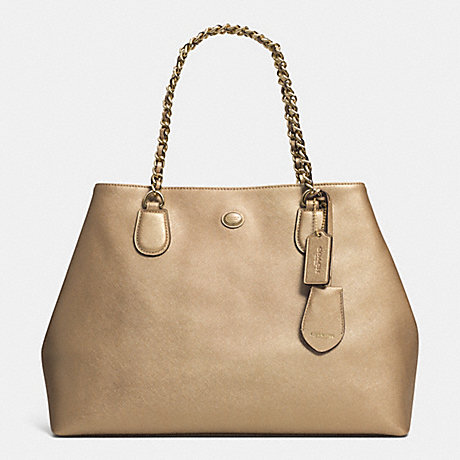 COACH PEYTON LEATHER CHAIN TOTE - IM/GOLD - f31752