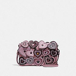 HAYDEN FOLDOVER CROSSBODY CLUTCH WITH HEARTS - DUSTY ROSE/BLACK COPPER - COACH F31757