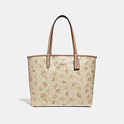 REVERSIBLE CITY ZIP TOTE IN SIGNATURE CANVAS WITH DAISY BUNDLE PRINT - LIGHT KHAKI/MULTI/IMITATION GOLD - COACH F31776