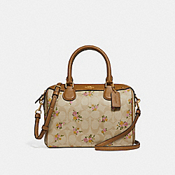 MINI BENNETT SATCHEL IN SIGNATURE CANVAS WITH DAISY BUNDLE PRINT - LIGHT KHAKI/MULTI/IMITATION GOLD - COACH F31777