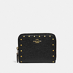 SMALL ZIP AROUND WALLET WITH RIVETS - BLACK/BRASS - COACH F31811