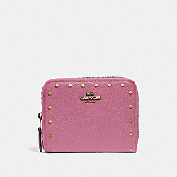 SMALL ZIP AROUND WALLET WITH RIVETS - ROSE/BRASS - COACH F31811