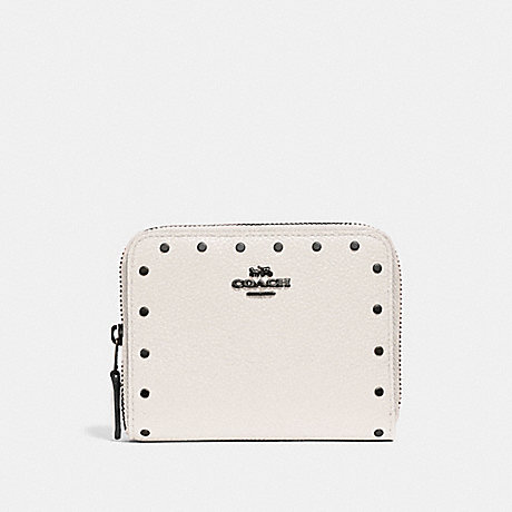 COACH SMALL ZIP AROUND WALLET WITH RIVETS - CHALK/BLACK COPPER - F31811