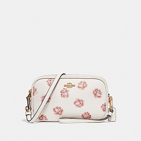 COACH SADIE CROSSBODY CLUTCH WITH ROSE PRINT - CHALK ROSE PRINT/LIGHT GOLD - F31826
