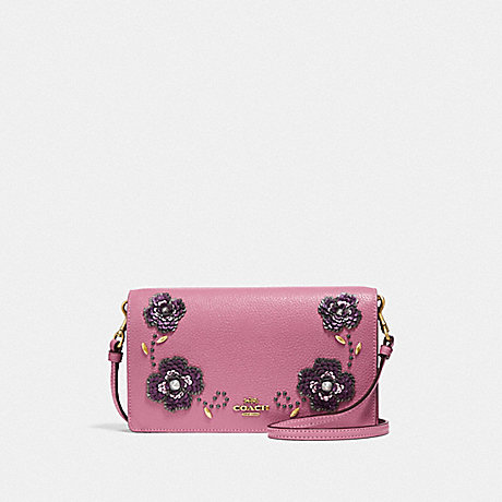 COACH HAYDEN FOLDOVER CROSSBODY CLUTCH WITH LEATHER SEQUIN APPLIQUE - ROSE/BRASS - F31837