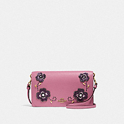 HAYDEN FOLDOVER CROSSBODY CLUTCH WITH LEATHER SEQUIN APPLIQUE - ROSE/BRASS - COACH F31837