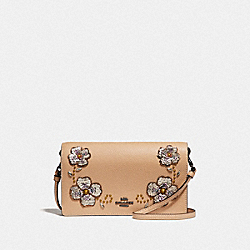 HAYDEN FOLDOVER CROSSBODY CLUTCH WITH LEATHER SEQUIN APPLIQUE - BEECHWOOD/BLACK COPPER - COACH F31837