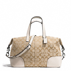 COACH HADLEY SIGNATURE ZIP SATCHEL - SILVER/LIGHT KHAKI/PARCHMENT - F31841
