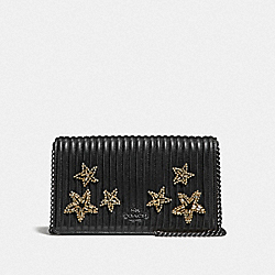 CALLIE FOLDOVER CHAIN CLUTCH WITH QUILTING AND CRYSTAL EMBELLISHMENT - BP/BLACK - COACH F31871