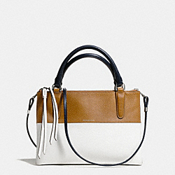 COACH THE COLORBLOCK RETRO BOARSKIN LEATHER MINI BOROUGH BAG - UE/NAVY TAN/WHITE - F31881