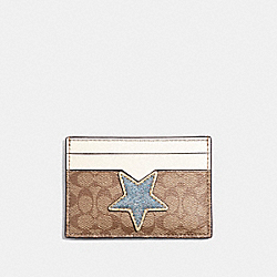 COACH CARD CASE IN SIGNATURE CANVAS WITH STAR - KHAKI MULTI /LIGHT GOLD - F31882