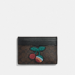COACH CARD CASE IN SIGNATURE CANVAS WITH CHERRY - BROWN BLACK/MULTI/SILVER - F31883