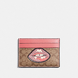 COACH CARD CASE IN SIGNATURE CANVAS WITH LIPS - KHAKI MULTI /SILVER - F31893