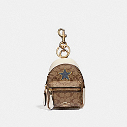 BACKPACK COIN CASE IN SIGNATURE CANVAS WITH STAR - KHAKI MULTI /LIGHT GOLD - COACH F31894