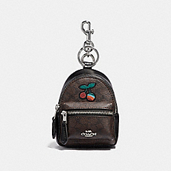 BACKPACK COIN CASE IN SIGNATURE CANVAS WITH CHERRY - BROWN BLACK/MULTI/SILVER - COACH F31895