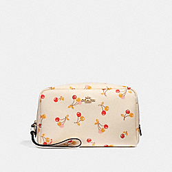 BOXY COSMETIC CASE 20 WITH CHERRY PRINT - CHALK MULTI/LIGHT GOLD - COACH F31909