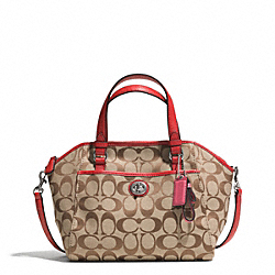COACH PARK SIGNATURE MINI SATCHEL - SILVER/KHAKI/VERMILLION - F31922