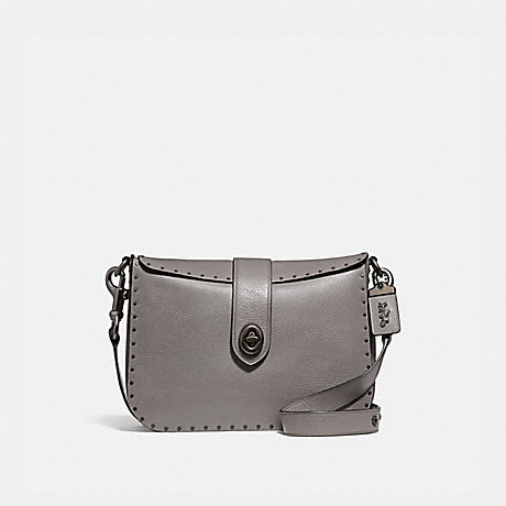 COACH PAGE 27 WITH RIVETS - HEATHER GREY/BLACK COPPER - F31929