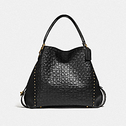 EDIE SHOULDER BAG 42 IN SIGNATURE LEATHER WITH RIVETS - B4/BLACK - COACH F31930