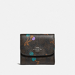 COACH SMALL WALLET IN SIGNATURE CANVAS WITH CHERRY PRINT - BROWN MULTI/SILVER - F31939