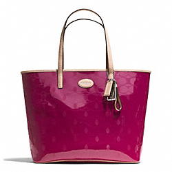 COACH METRO EMBOSSED LEATHER TOTE - SILVER/CRANBERRY - F31944