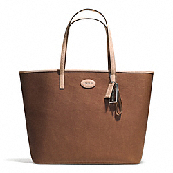 COACH METRO EMBOSSED LEATHER TOTE - SILVER/SADDLE - F31944