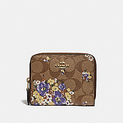 SMALL ZIP AROUND WALLET IN SIGNATURE CANVAS WITH MEDLEY BOUQUET PRINT - KHAKI MULTI /LIGHT GOLD - COACH F31955