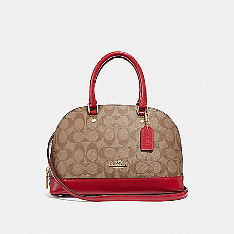 COACH MINI SIERRA SATCHEL IN SIGNATURE CANVAS - KHAKI/TRUE RED/LIGHT GOLD - F31977