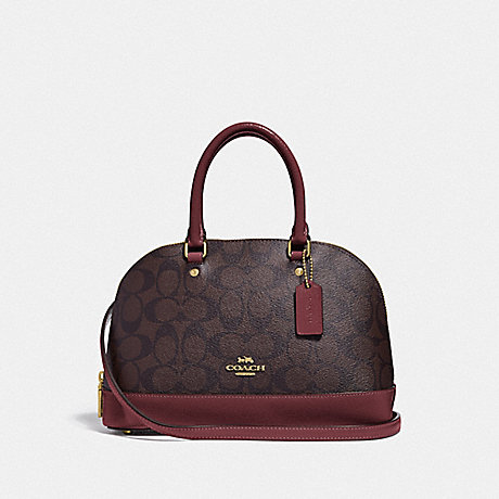 COACH MINI SIERRA SATCHEL IN SIGNATURE CANVAS - IM/BROWN/WINE - F31977