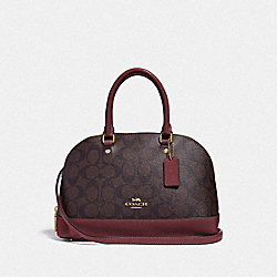 MINI SIERRA SATCHEL IN SIGNATURE CANVAS - IM/BROWN/WINE - COACH F31977