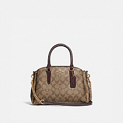 MINI SAGE CARRYALL IN SIGNATURE CANVAS - KHAKI/OXBLOOD MULTI/LIGHT GOLD - COACH F31985