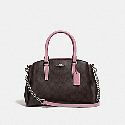 MINI SAGE CARRYALL IN SIGNATURE CANVAS - BROWN/DUSTY ROSE/SILVER - COACH F31985