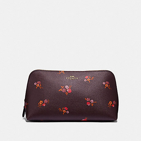 COACH COSMETIC CASE 22 WITH BABY BOUQUET PRINT - OXBLOOD MULTI/LIGHT GOLD - F32000